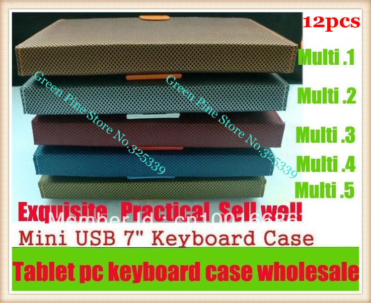 FedEX Free Shipping 12X Keyboard 7 '' Tablet Case Built-in English Russian Spanish Turkish French German Arabic or more language(China (Mainland))