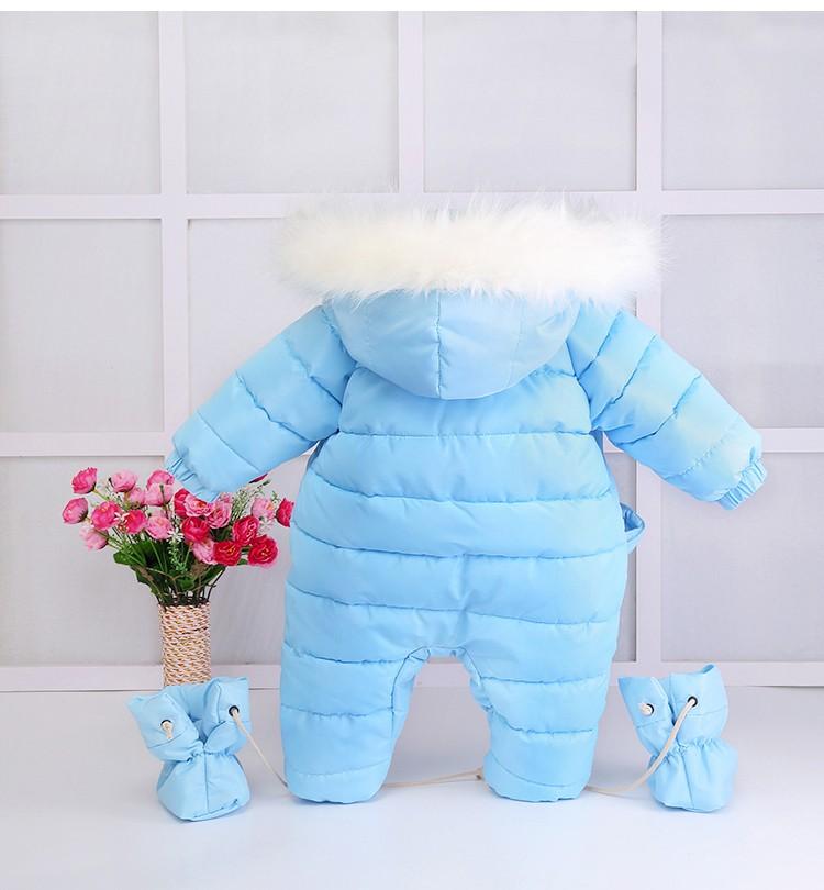 Скидки на Младенческой ребенка детский зимний комбинезон 2016 новый зимний baby boy девушка верхняя одежда наряды вниз и парки с капюшоном тепловой новорожденный снег износ комбинезон