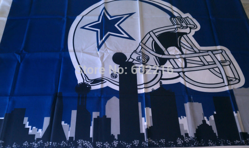 Dallas Cowboys Football Helmet City Skyline Banner Flag 3FTX 5FT(China (Mainland))