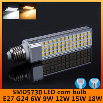 2015 New LED Corn Bulb 6W 9W 12W 15W 18W E27 G24 socket select Lamp Bombillas Light AC110-240v SMD5730 Spotlight Free shipping(China (Mainland))