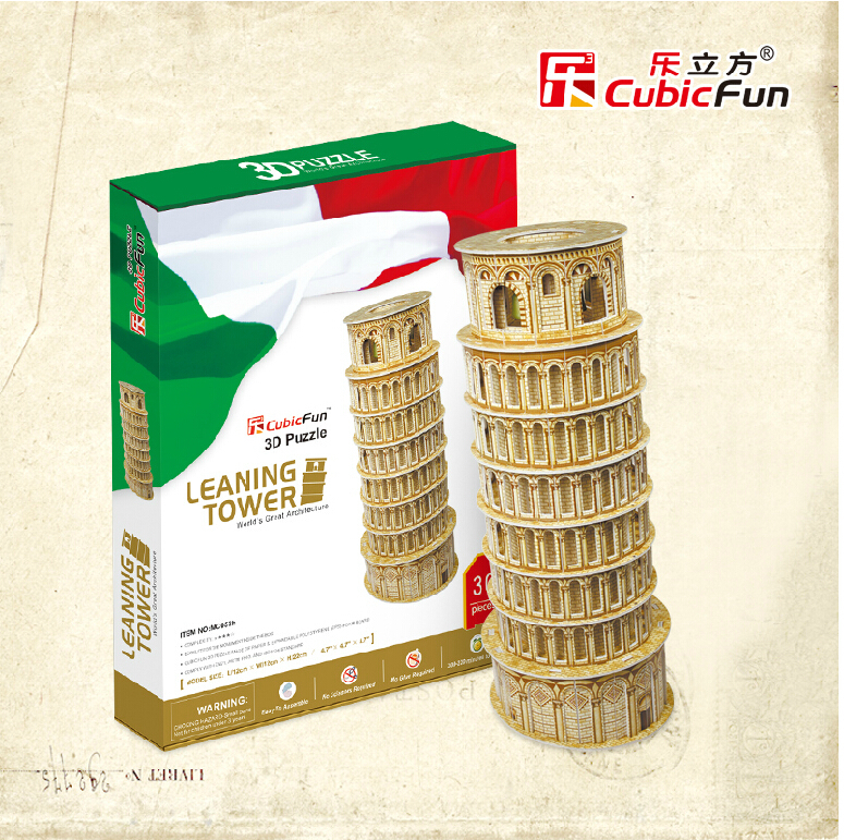 Promotion Gift Cubic Fun 3D Puzzle Toy Leaning Tower (Italy) Model DIY Puzzle Toy(China (Mainland))