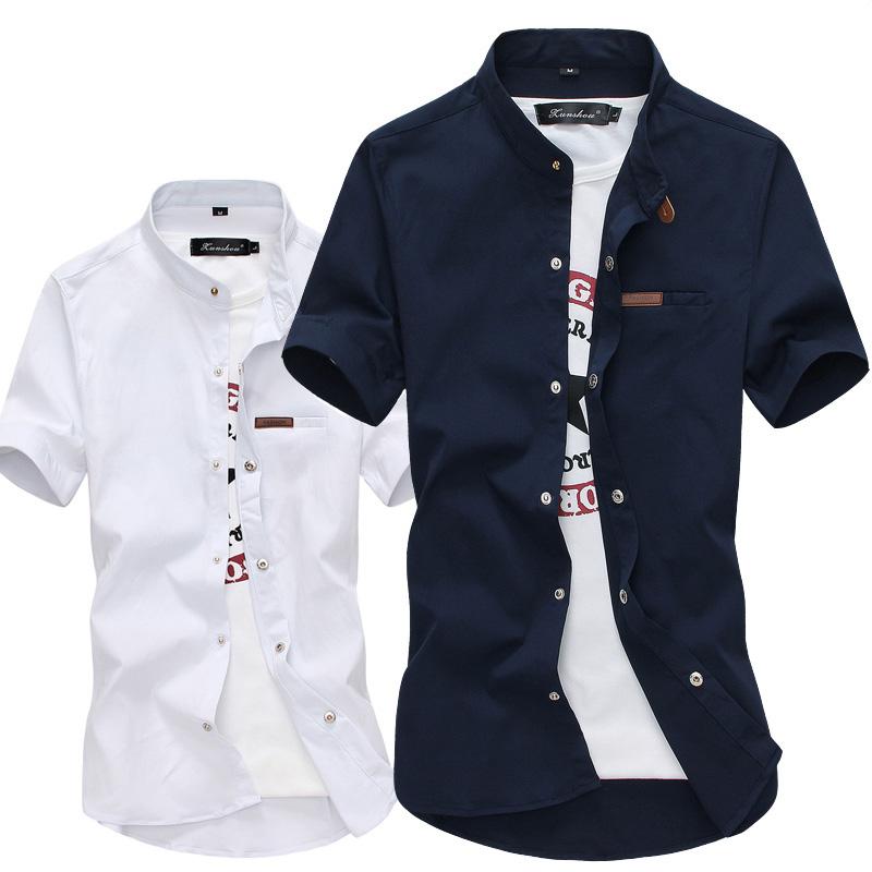korean plus size men soid shirt short sleeve turn down collar sexy mens slim fit casual Camisa Masculina dress shirts(China (Mainland))