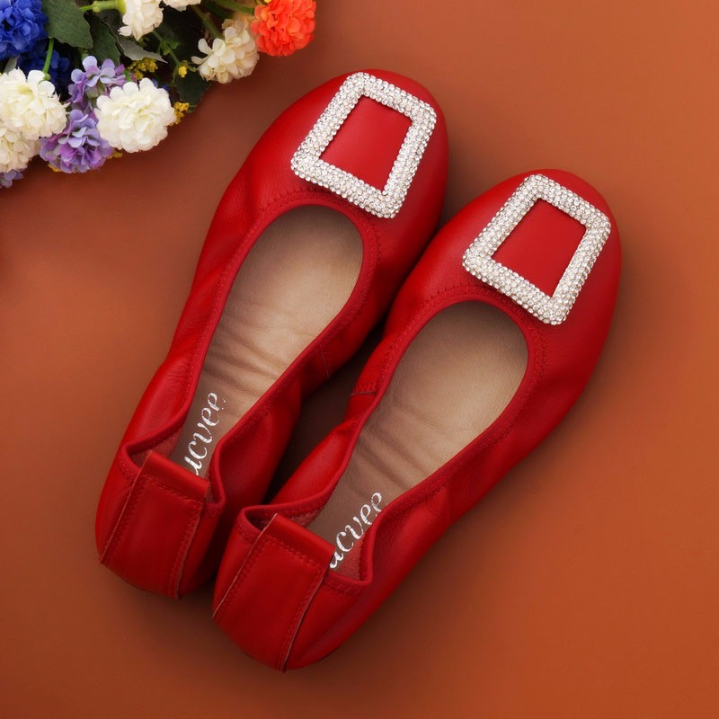 Women's Casual Shoes Genuine Leather Woman Loafers Slip-On Female Flats Moccasins Ladies Driving Shoe crystal Mother Footwear
