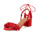 Women Suede Fringed Ankle Strappy Sandal 2017 Ladies Summer Leather Sheepskin Chunky Med Heeled Dress Sandal
