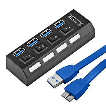 Mini USB 3.0 Hub 4 Порта 5 Гбит Высокоскоростной Hubusb Портативный USB Концентратор С Включения/Выключения USB Разветвитель Кабель-Адаптер Для ПК ноутбук