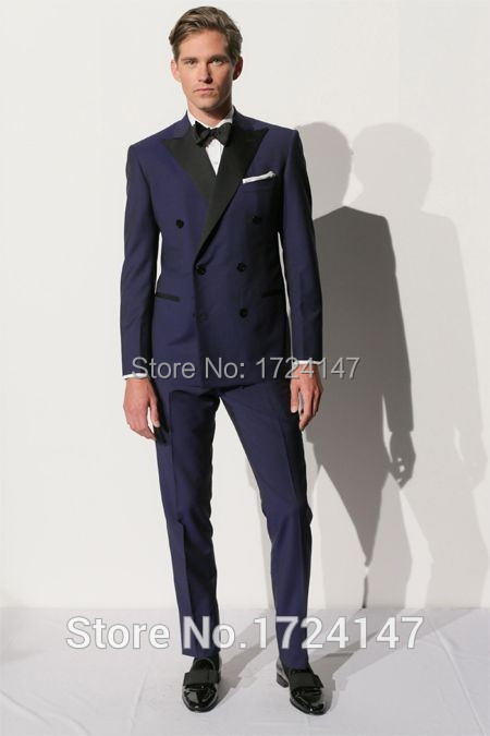 Popular Suit Pants Blue Double Breasted Wedding Suit-Buy Cheap
