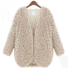 Wool Sweater Fluffy Shaggy Faux Fur Coat  Winter Outwear Cardigan Cashmere124(China (Mainland))