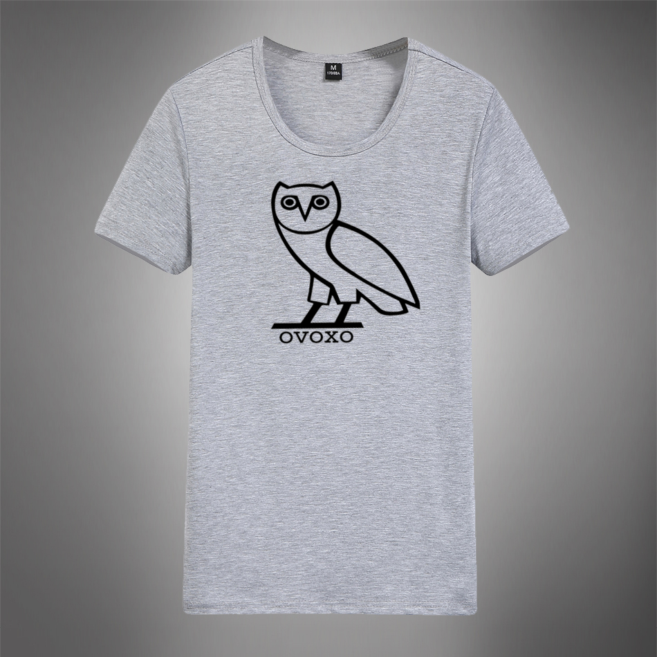 2016New Short Sleeve Crewneck T shirt OVO Drake Gold Owl Ovoxo Octobers Very Own Weeknd T-shirt Hip Hop Men Tees Plus Size m-4xl(China (Mainland))
