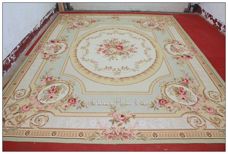9x12 pastel green ivory pink aubusson area rug carpet. Black Bedroom Furniture Sets. Home Design Ideas