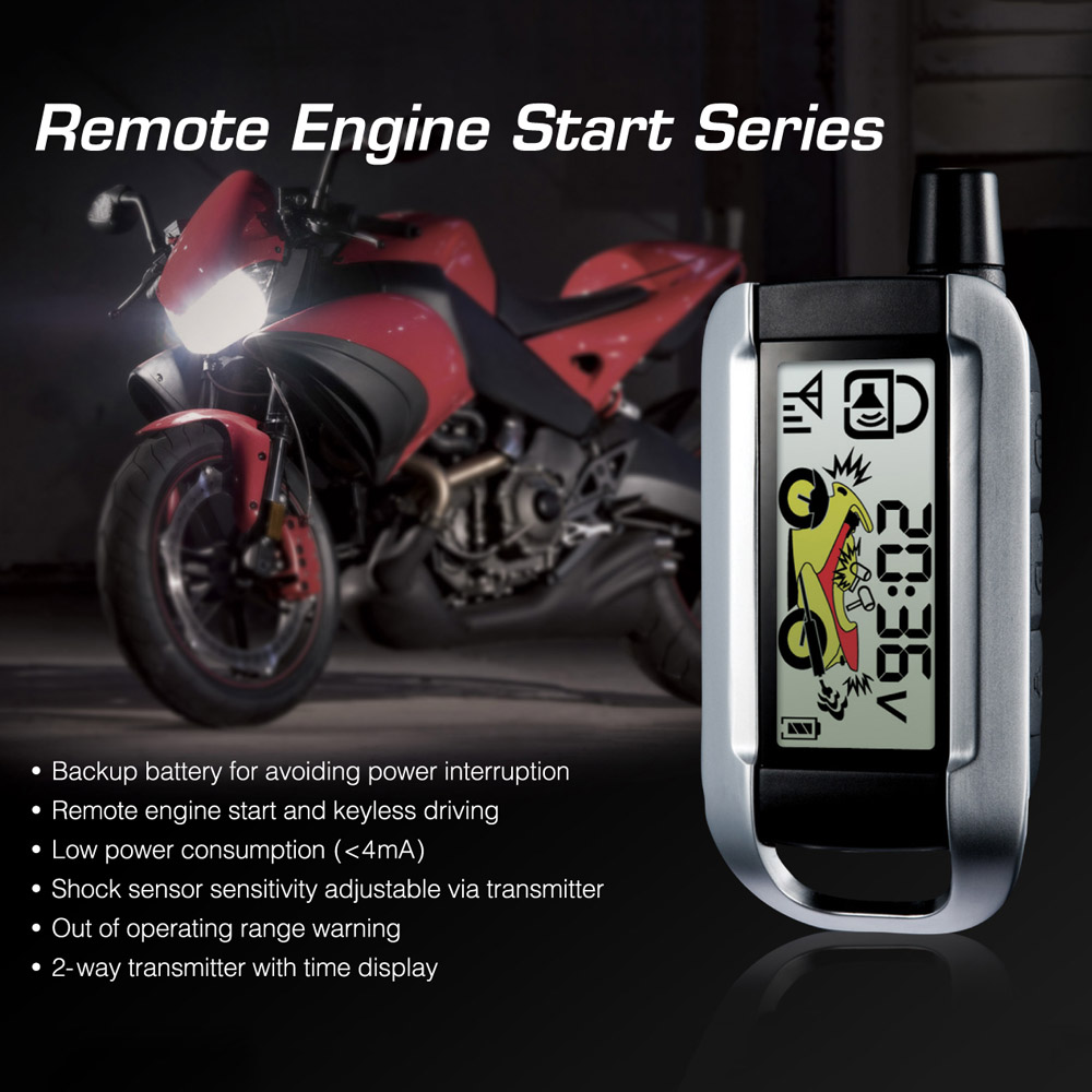 Steelmate 986XO 2 Way Motorcycle Alarm System Remote Engine Start Water Resistant ECU with LCD Transmitter for Car Style(China (Mainland))