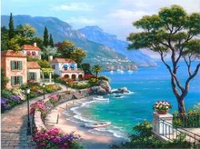 Frameless Pictures Painting By Numbers Digital Oil Painting On Canvas Landscape Mediterranean Sea Pattern Home Decor 40x50cm(China (Mainland))