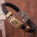 Free Shipping Naruto Bracelet Leaf Viliage Mark Brown Wristband Bangle Punk Bracelet For Anime Fans Naruto