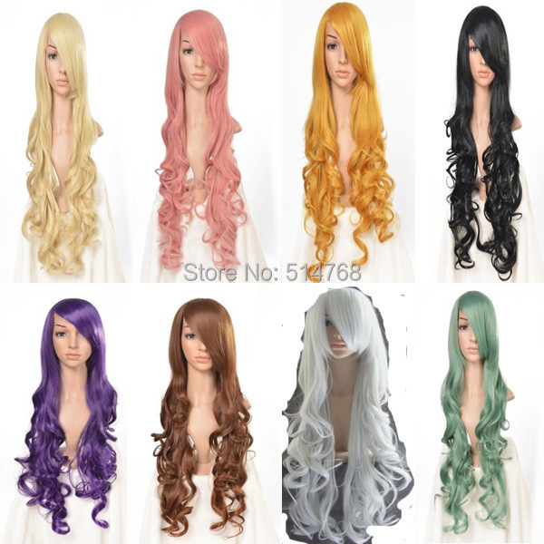Free Shipping!!! Fashion Long Curly Synthetic Hair Wigs Cosplay Wig Black Brown Blonde Pink Orange Purple Green Grey(China (Mainland))