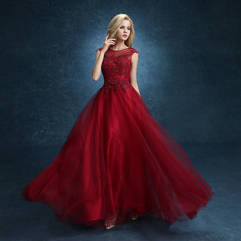 Evening Dress 2015 Bridal Married Red Wine Long Lace ...