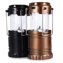 6 LED Hand Lamp Portable Led Light Solar Collapsible Camping Lantern Tent Lights Rechargeable Emergency For Outdoor Lighting(China (Mainland))