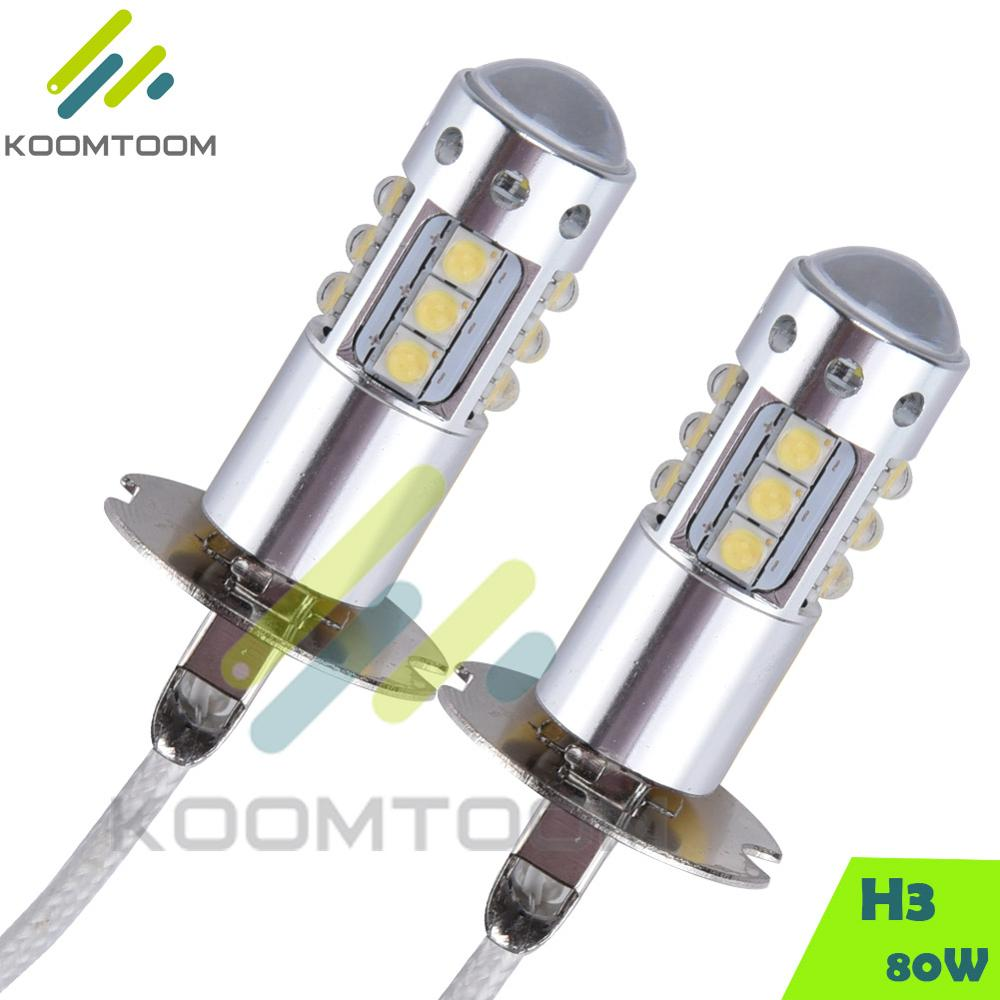 80W 420ML H3 CREE SMD LED Car Headlights Bulb of Car Lamp Ligts for Audi A6 Fog Lights Free Shipping(China (Mainland))