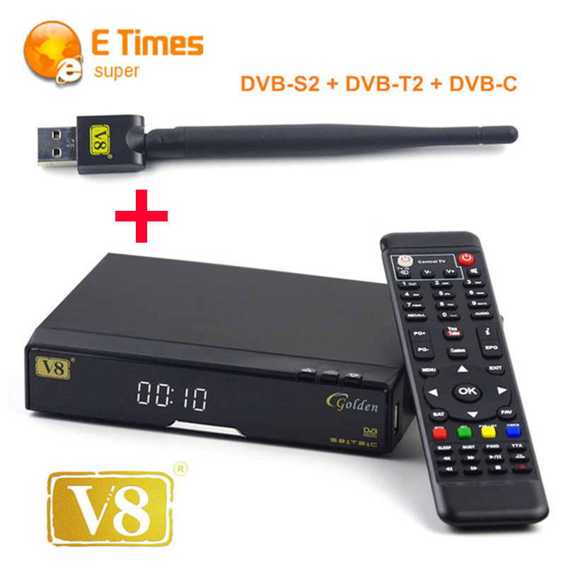 V8 Golden COMBO HD Satellite TV Receiver +1 pcs USB Wi-Fi DVB-S2 + DVB-T2 Twin Tuner Support CCcam NEWcamd GPRS dongle PVR Ready(China (Mainland))