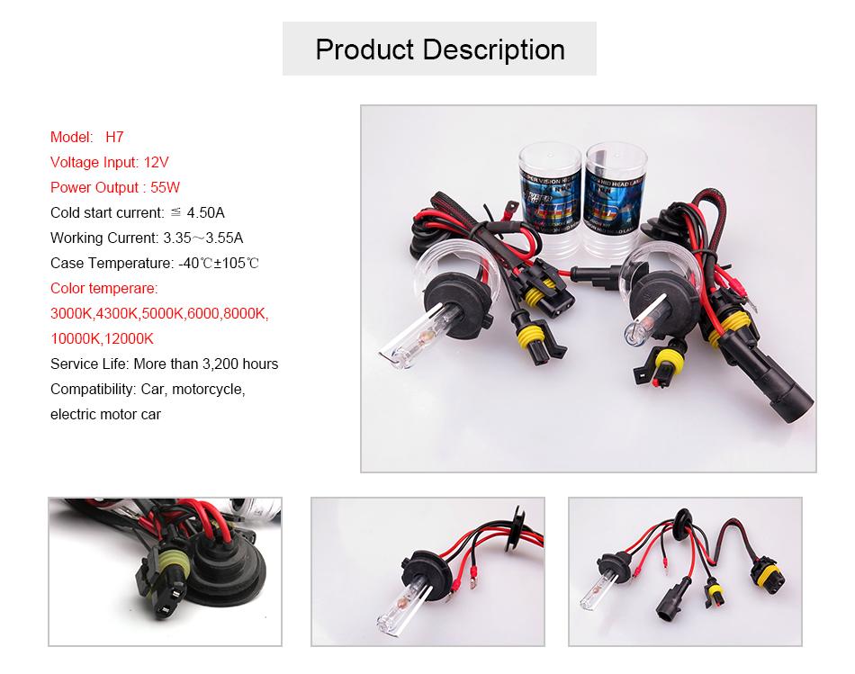 2pcs kit xenon H7 6000K 55W car HID Xenon bulb headlight fog auto light lamp Replacement H7 BULB 4300K 5000K 8000K 10000K 12000K(China (Mainland))