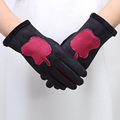 2016 new Autumn winter women high quality pure cotton leather gloves mittens screen touch women gloves