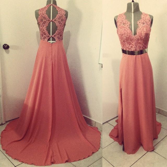 vestido de baile v neck pink lace bodice key ole back long prom dress chiffon long prom dress side slit evening party dress(China (Mainland))