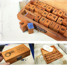Details about  30pcs Wooden Rubber Lower Case Alphabet Letters Number Stamps Set Retro Box (China (Mainland))