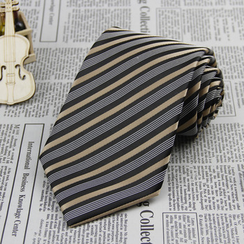 Brand New Necktie Polyester gray black gold stripe Handmade Men's Tie F35