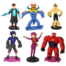 6pcs/set Big hero 6 baymax robot action figure toy dolls for baby christmas gifts