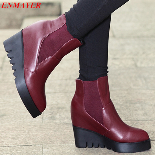 ENMAYER   2015 new winter pointed Toe Wedges fashion ankle boots  solid Patchwork cow leather boots Slip-On Martin boots<br><br>Aliexpress
