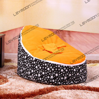 FREE SHIPPING baby bean bag cover with 2pcs orange up cover baby bean bag seat cover baby bean bag chair kids sofa()