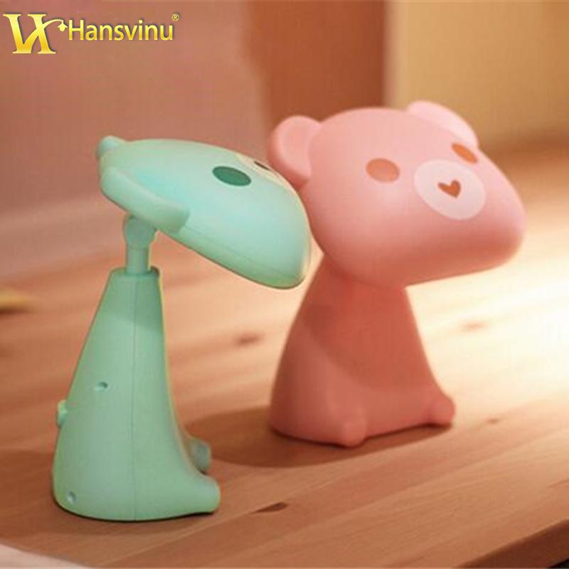 Cartoon Bear USB Rechargeable LED Night Light Lamp Home Illumination Energy-Saving Lamps beside light for baby kids room(China (Mainland))