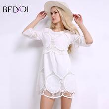 BFDADI лето женщины белый мини кружевные платья элегантный сладкий повседневная hollow половина рукавами над коленом женщины платье L-6XL BF004(China (Mainland))