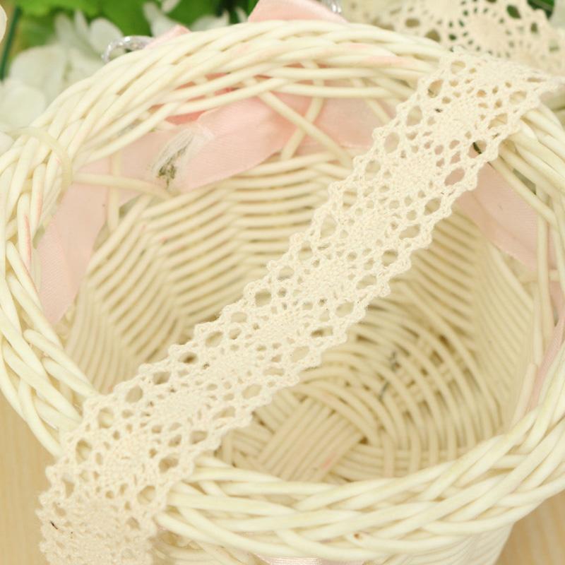 2016 Hot Sale DIY Cream Lace Bridal Wedding Decoration Trim Ribbon Craft Cotton Crochet New Arrivals(China (Mainland))