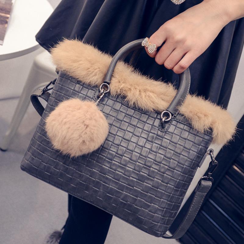 2016 New Single Shoulder Bag Messenger Bag woman's Handbag Bag Fashion cortex Pu fabric woven black, grey and red purple brown(China (Mainland))