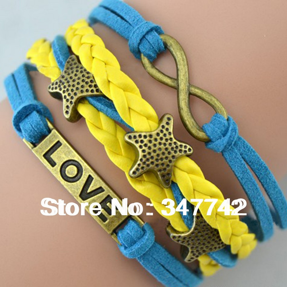 2014 charm gold plated leather bracelet,infinity love bracelet, lovely stars bracelet genuine - YiWu Bebillion Jewelry store