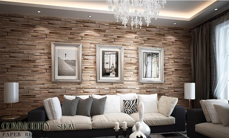 New 3d luxury wood blocks effect brown stone brick 10m for Brown wallpaper ideas for living room