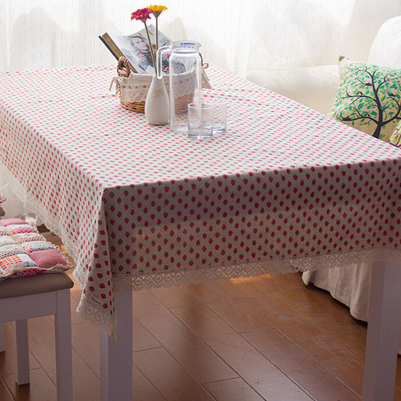 Household multi-purpose cloth tablecloths rustic strawberry tea table linen tablecloths cover towel(China (Mainland))