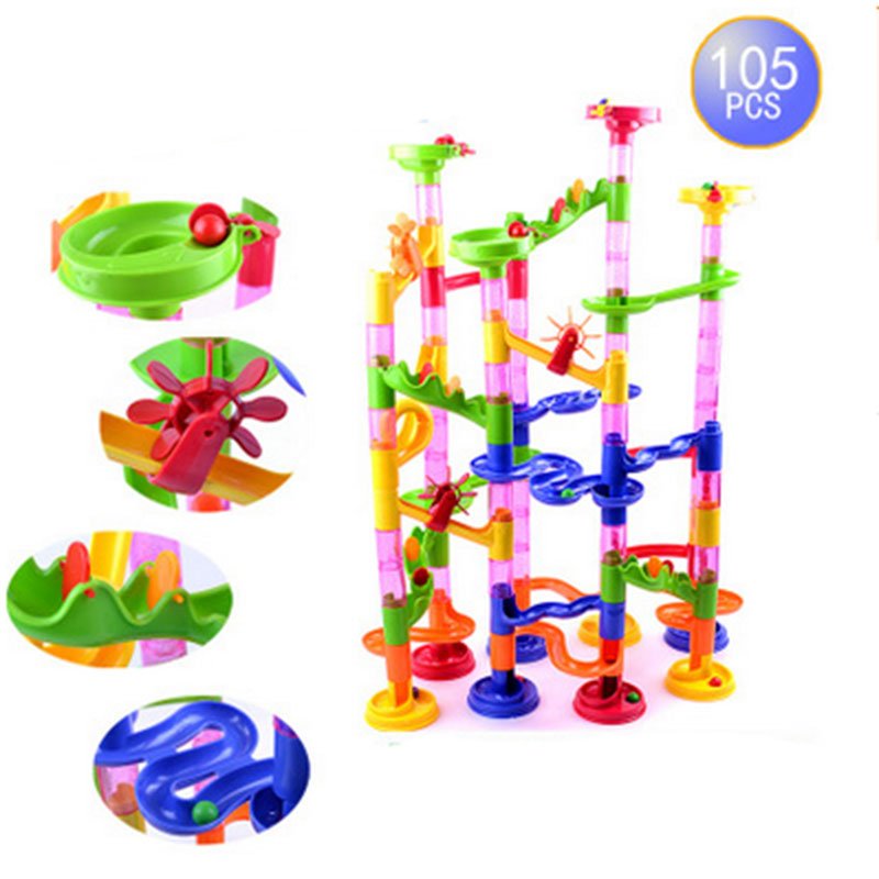 Selling track ball building blocks 3 d maze pipeline domino educational toys 105 PCS(China (Mainland))