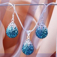 Sale 2016 disco ball beads present crystal Jewellery set fasion tear waterdrop necklace drop earrings shamballa units for girls
