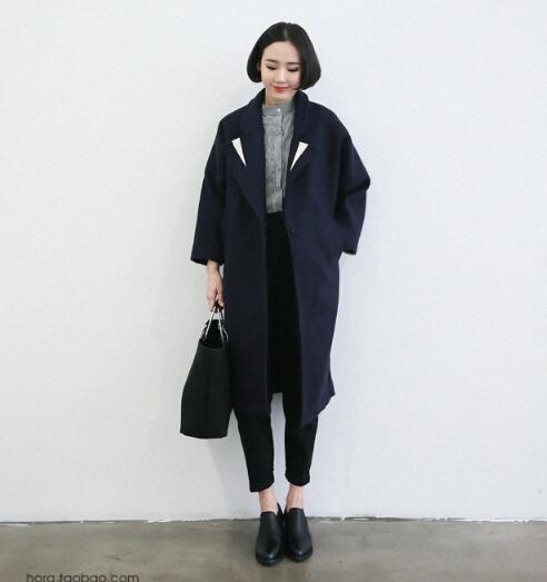 Navy Blue Long Wool Coat