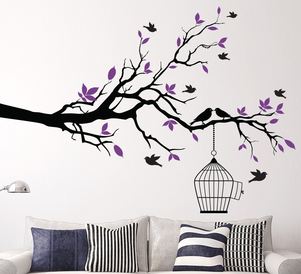 Aliexpresscom Buy Tree Branch with Bird Cage Wall Art