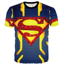 Teenager 3D Superman T-shirts European Summer Spiderman Captain America Big Boys Tops Short Sleeve Children Clothings tyh-55686