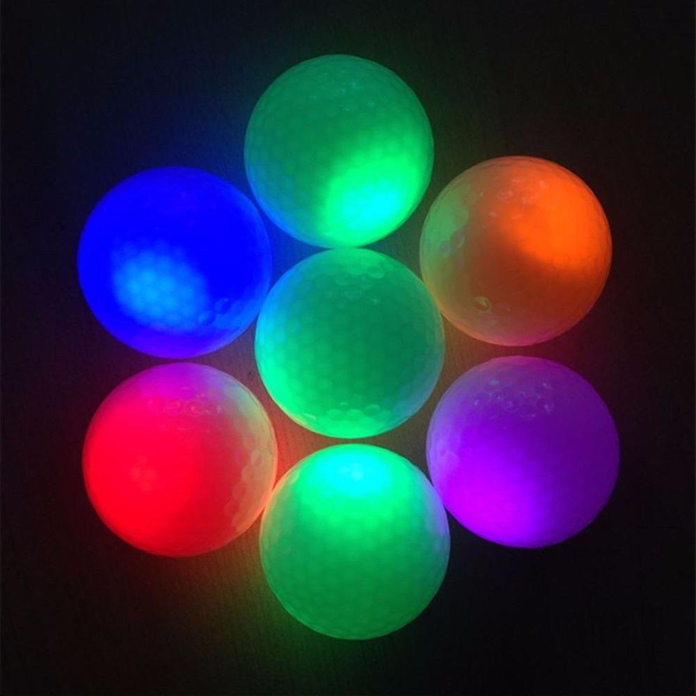 2016 Novelty 1Pcs New Night Light Gold Ball Light-up Flashing Night Light Glowing Fluorescence Golf Balls Golfing Wholesale(China (Mainland))