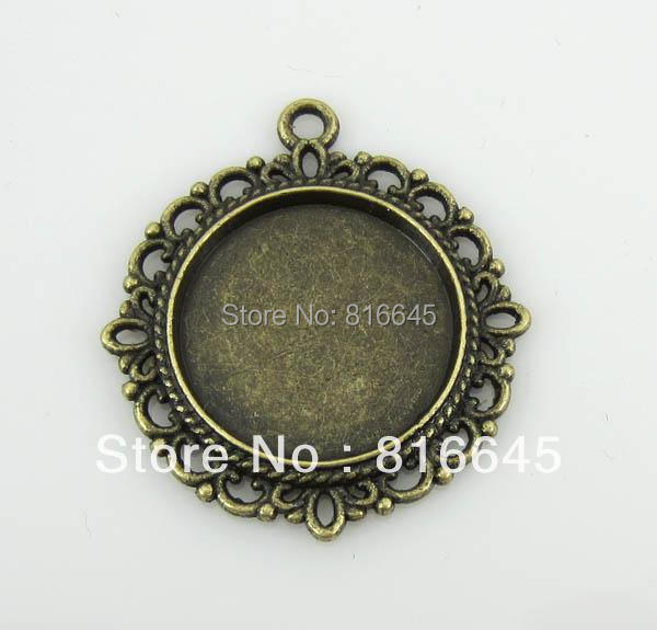 Free Shipping 20pcs Bronze Plated Round Cameo Frame Settings Pendants,Blank Pendant Trays For Cabochons or Stickers 30x34mm(China (Mainland))