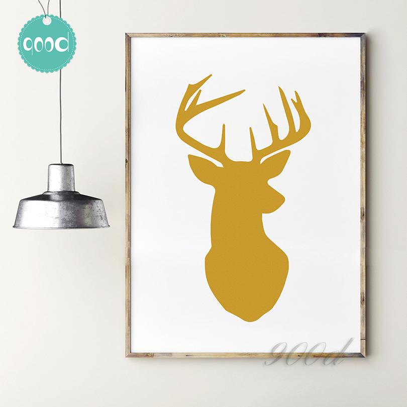 Buy Gold Deer Head Canvas Art Print Painting Poster Wall Pictures For Home