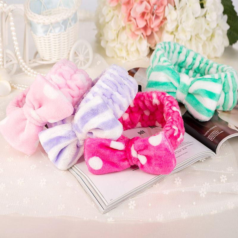 Women Coral Fleece Mask Cosmetic Sports Towel Hair Bands Big Bow Covering Microfiber Hair Bands Headband Wholesale Headwear(China (Mainland))