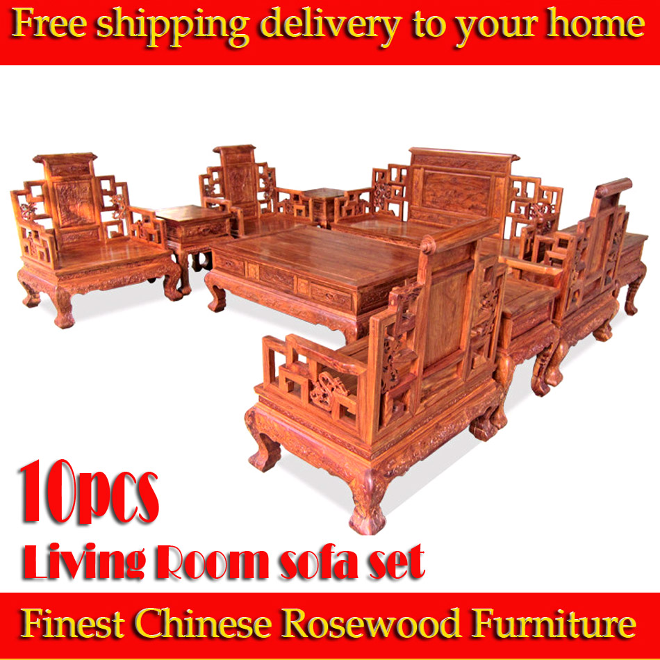 Free shipping 10pcs African rosewood Living Room sofa set rosewood sofas chinese Ming Dynasty style finest rosewood Furniture(China (Mainland))