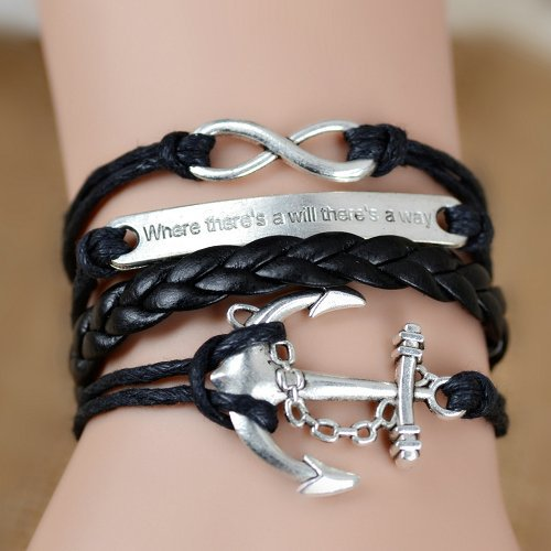 Where There s a Will There s a Way Handmade Infinity Anchor Rudder Charm Bracelet Multilayer