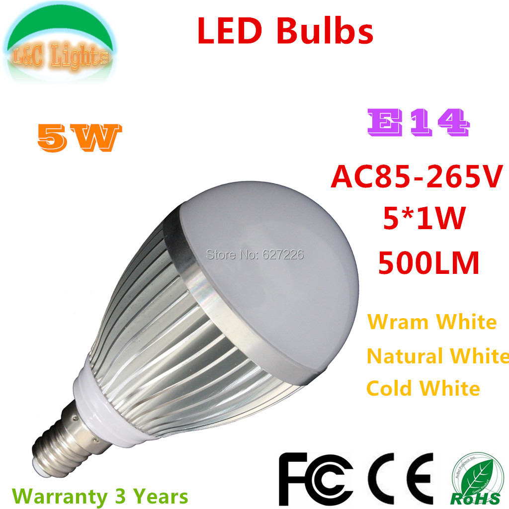 Dimmable(AC220V~AC240V), E14 Base, LED Bulb 5X1W hightpower led source,As a small night lamp use(China (Mainland))