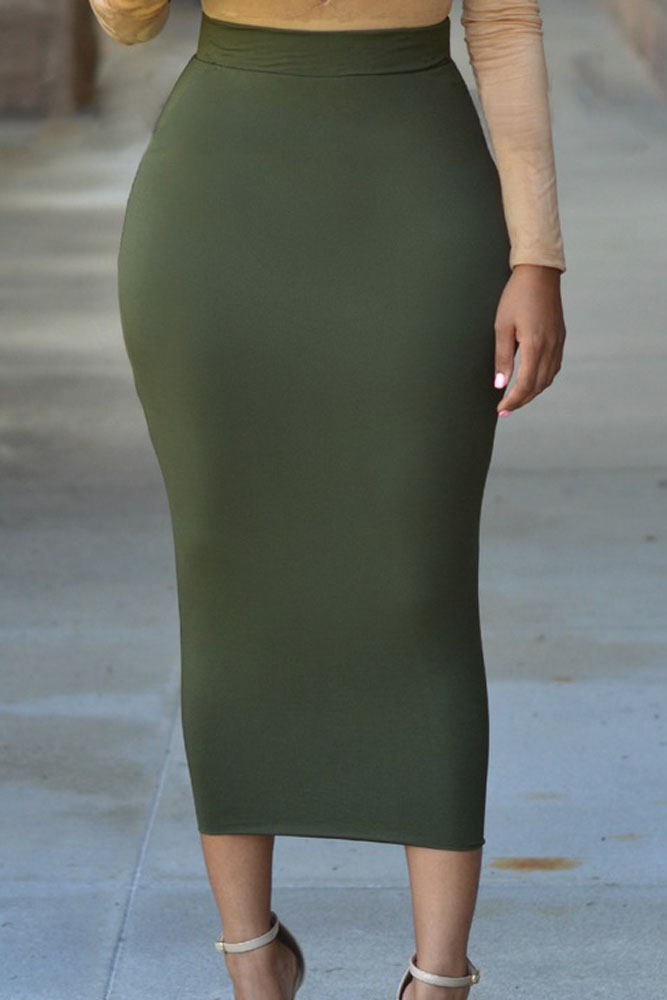 Solid-Green-High-waisted-Bodycon-Maxi-Skirt-LC71188-3-3