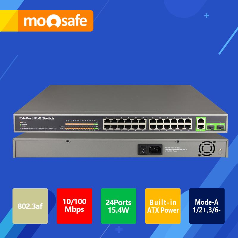 24CH POE Switch 10/100/1000Mbps Gigabit IEEE802.3af/at Standard 2 Gigabit Uplink 2 SFP Combo Port 370W Power Network Switch(China (Mainland))